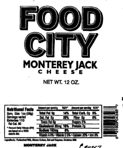 Recall for Food City Cheese